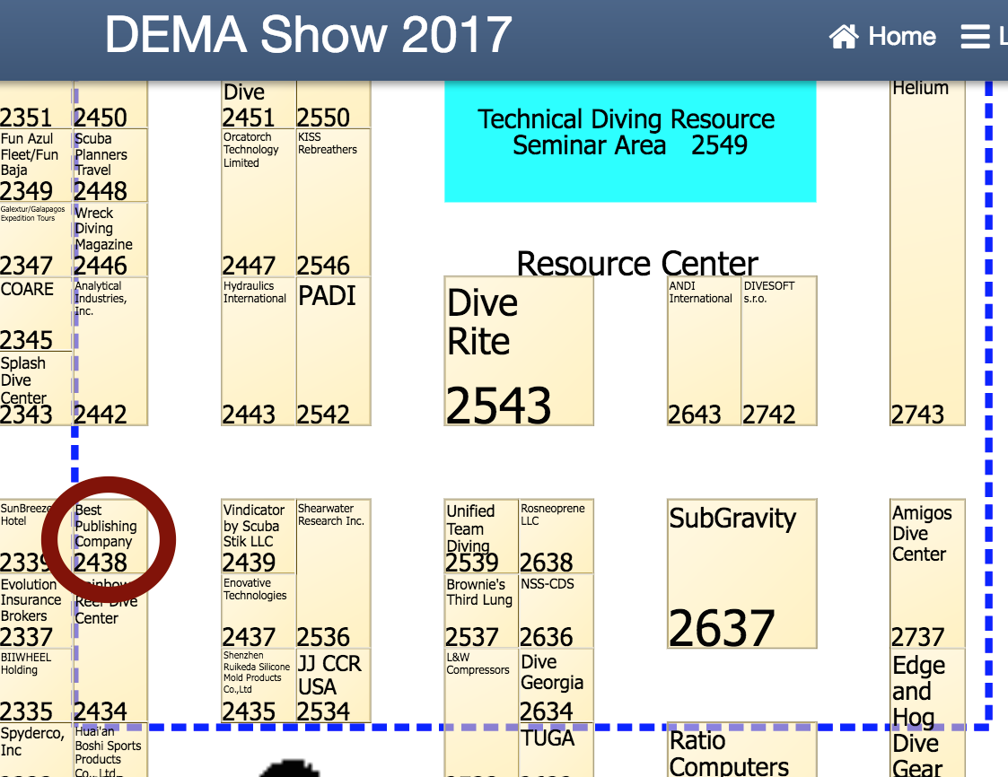 Best Publishing Company booth at DEMA Show 2017