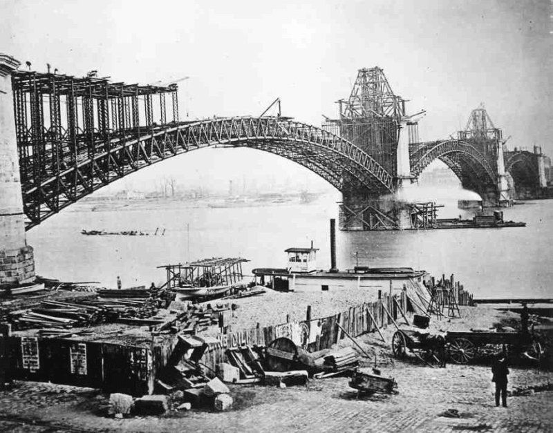 Eads Bridge construction 1870s